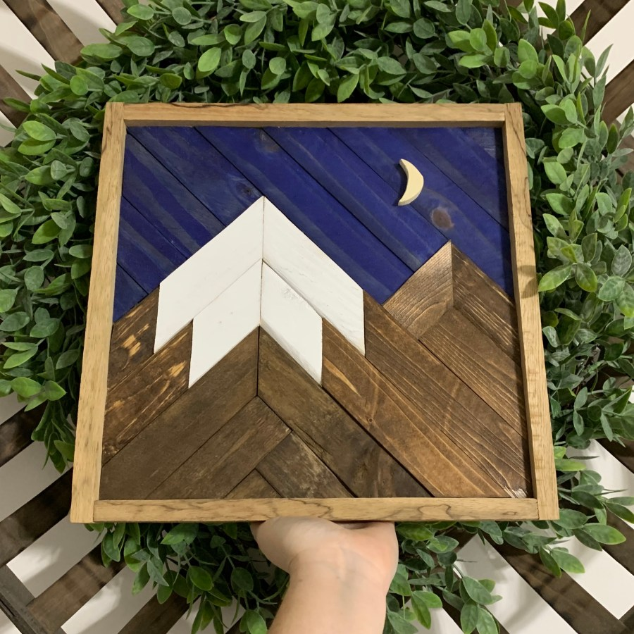 Quarantine Project: Wood art mosaic - mountain scene.
