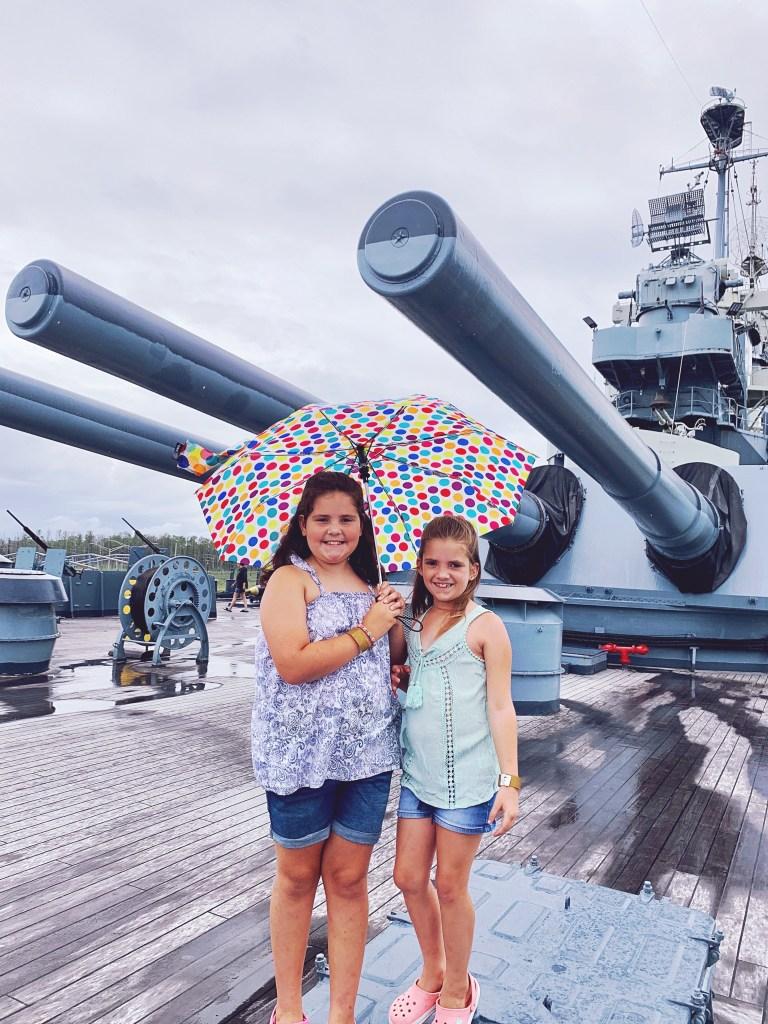 A rainy day on the USS North Carolina.