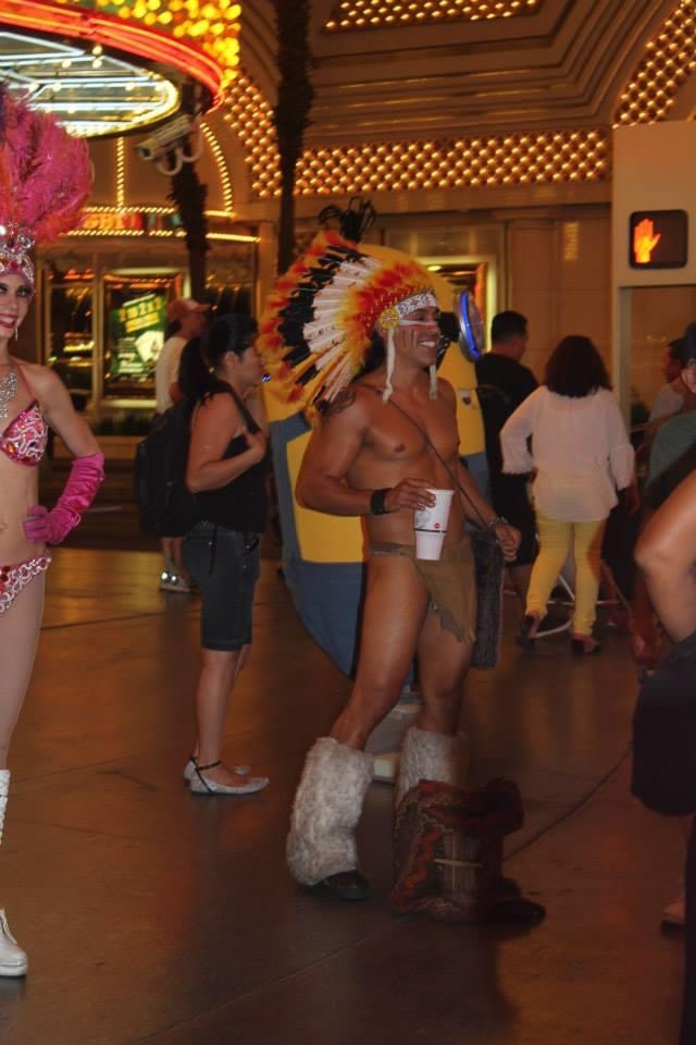 Street performer on Fremont Street in Vegas.