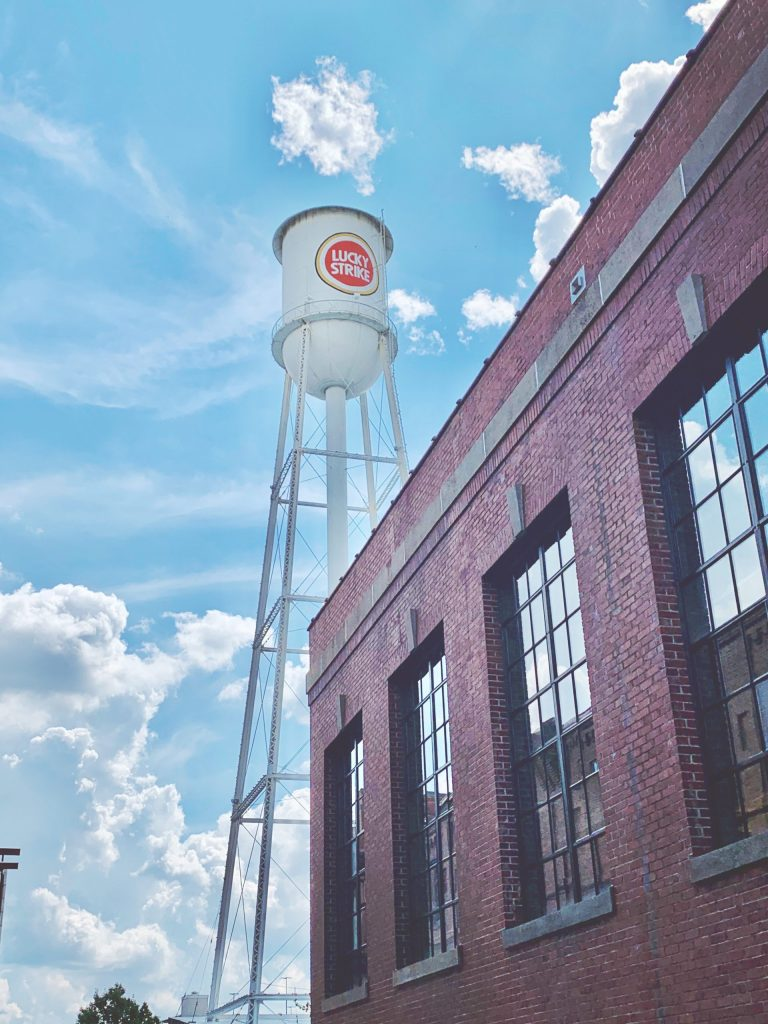 The old Lucky Strike water tower at the American Tobacco Campus.