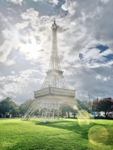 Quirky things to look for in Fayetteville #1: the mini Eiffel Tower.