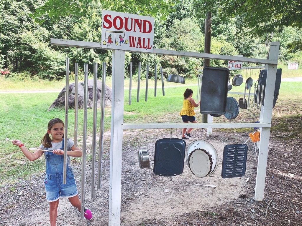 Playing at the sound wall at Millstone Creek Orchards.