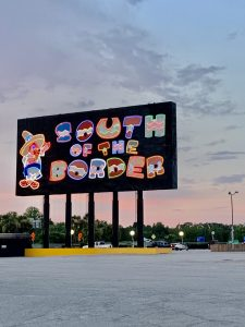 One of the many colorful signs at South of the Border.