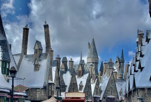 The Hogsmeade rooflines at Islands of Adventure in Orlando.