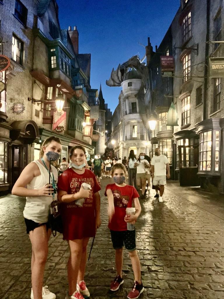 Girl at Diagon Alley at Universal Orlando.