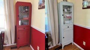 The before and after of the vintage medicine cabinet.