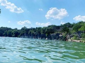 Limestone cliffs along the San Gabriel River in Texas.