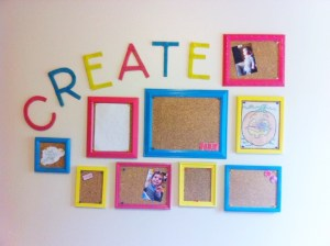 Gallery wall for hanging children's artwork.