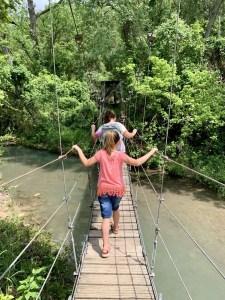 Crossing the suspension bridge on the Chalk Ridge Falls trail.