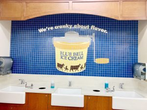 The sink at the Blue Bell Ice Cream Parlor.