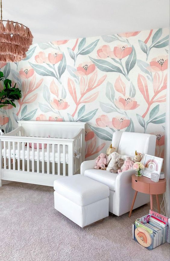 Use removable wall paper to decorate base housing nurseries.