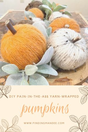DIY Pain-in-the-A$$ Yarn-Wrapped Dollar Tree Pumpkins   Finding Mandee