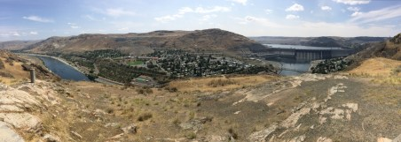 Pano showing the town of Coulee Dam (left), which is across river from the town of Grand Coulee (right)