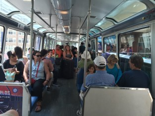 Inside the monorail