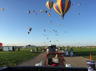 Leaving the balloon field in the chase vehicle