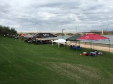 Spectator tents on run course before the chaos