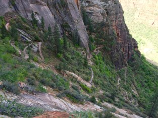 Zig-zagging your way up the face of a cliff.