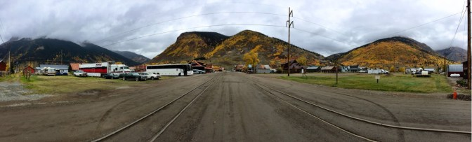 """Street in Silverton where the trains """"park""""."""