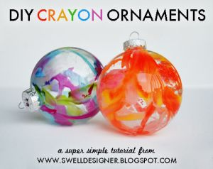 glass ornaments with melted crayon inside