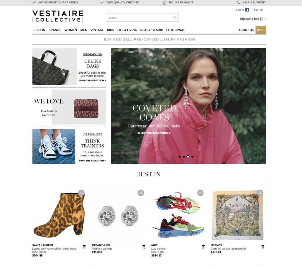 screenshot of Vestiaire website