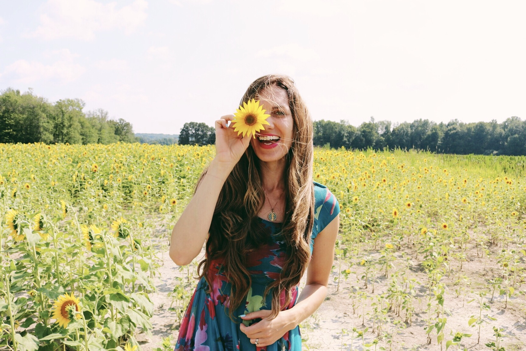 Claire in Sunflower Field
