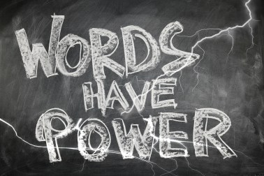 Words Have Power written on chalkboard