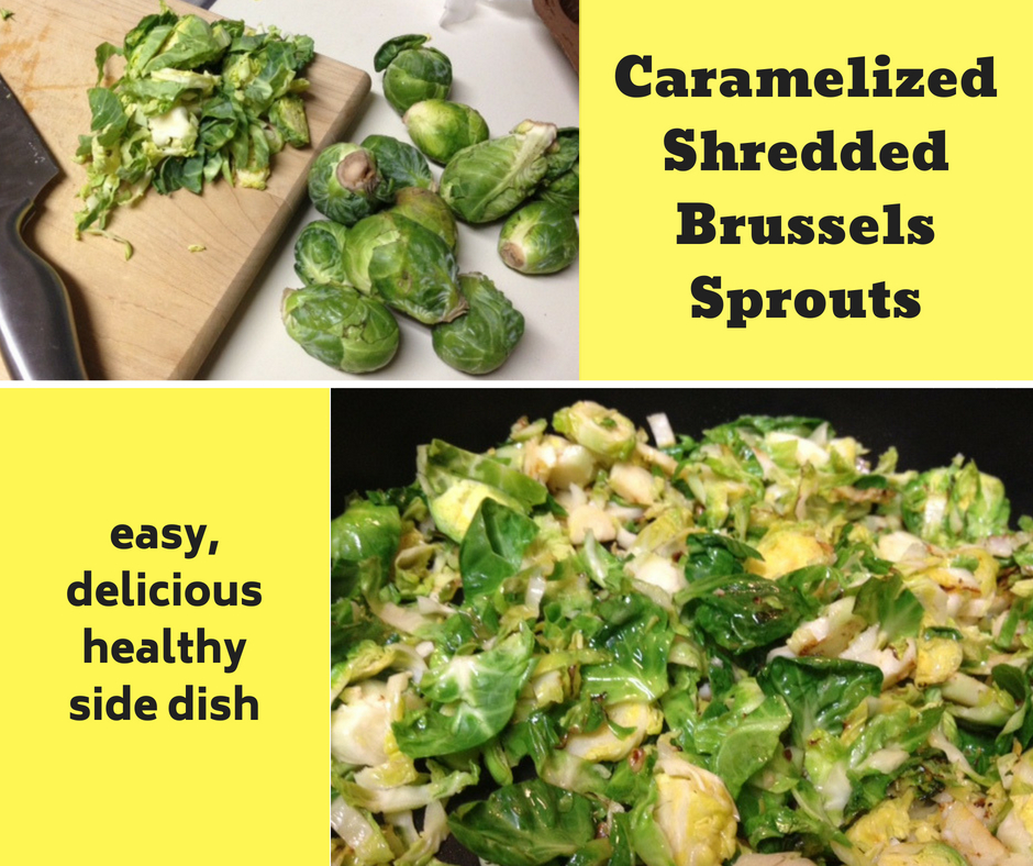 caramelized shredded brussels sprouts pinterest image