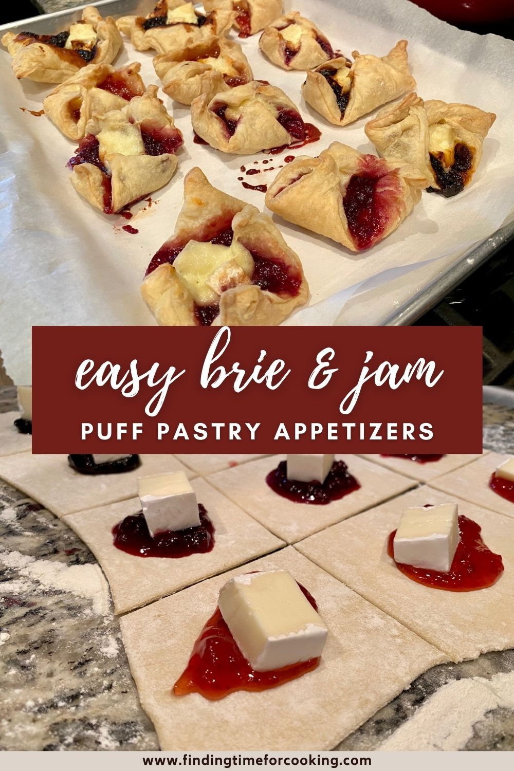 Easy Brie & Jam Puff Pastry Bites | This super easy, fast appetizer is perfect for a dinner party, brunch, a bridal shower, or any special occasion. Just 3 ingredients make these brie & jam bites a hit! Easy hors d'oeuvres ideas, easy appetizer ideas. #appetizer #brie #jam #puffpastry #horsdoeuvres