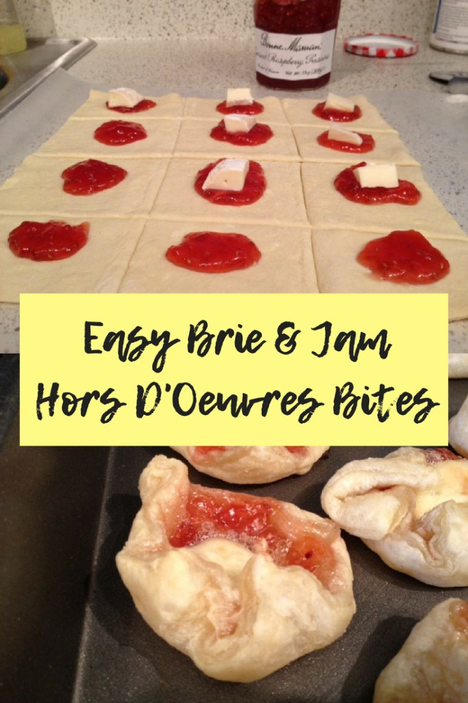 Easy Brie & Jam Hors D'oeuvres Bites | super easy, fast appetizer for a dinner party, perfect for brunch or bridal shower, just 3 ingredients! #appetizer #brie #jam #puffpastry #horsdoeuvres