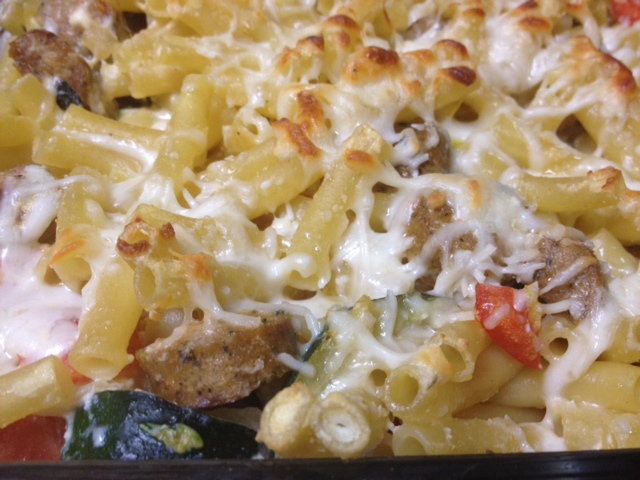Baked Ziti with Summer Vegetables & Chicken Sausage | finding time for cooking blog