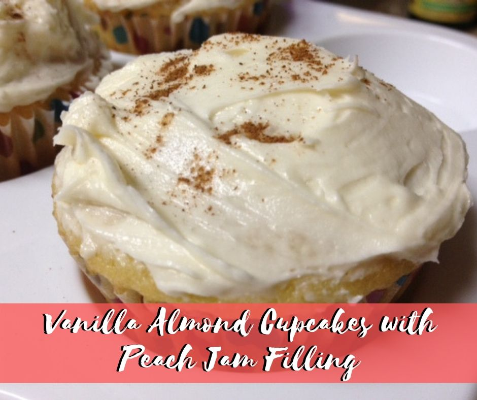 Miraculous Vanilla Almond Cupcakes With Peach Jam Filling Finding Time For Funny Birthday Cards Online Amentibdeldamsfinfo