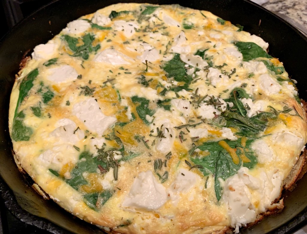 Easy Goat Cheese, Spinach, & Sweet Potato Frittata | Delicious egg casserole, perfect for breakfast or dinner | finding time for cooking blog