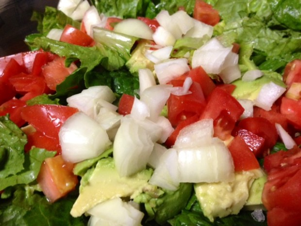 raspberry viniagrette salad closeup
