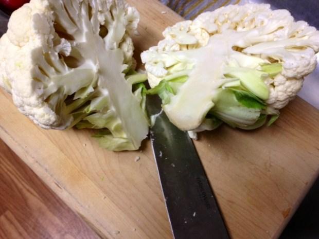 cauliflower aged cheddar soup cauliflower split
