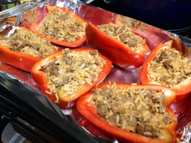 stuffed peppers pepper halves full