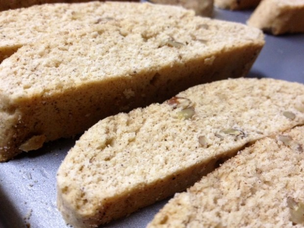 snickerdoodle biscotti sliced laid out