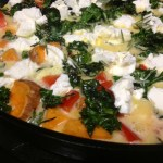 Sweet Potato, Red Pepper, & Kale Frittata with Goat Cheese