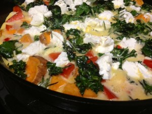 sweet potato red pepper frittata assembled