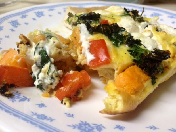 sweet potato red pepper frittata finished closeup