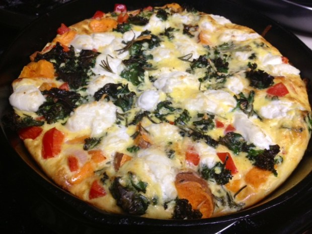 sweet potato red pepper frittata finished