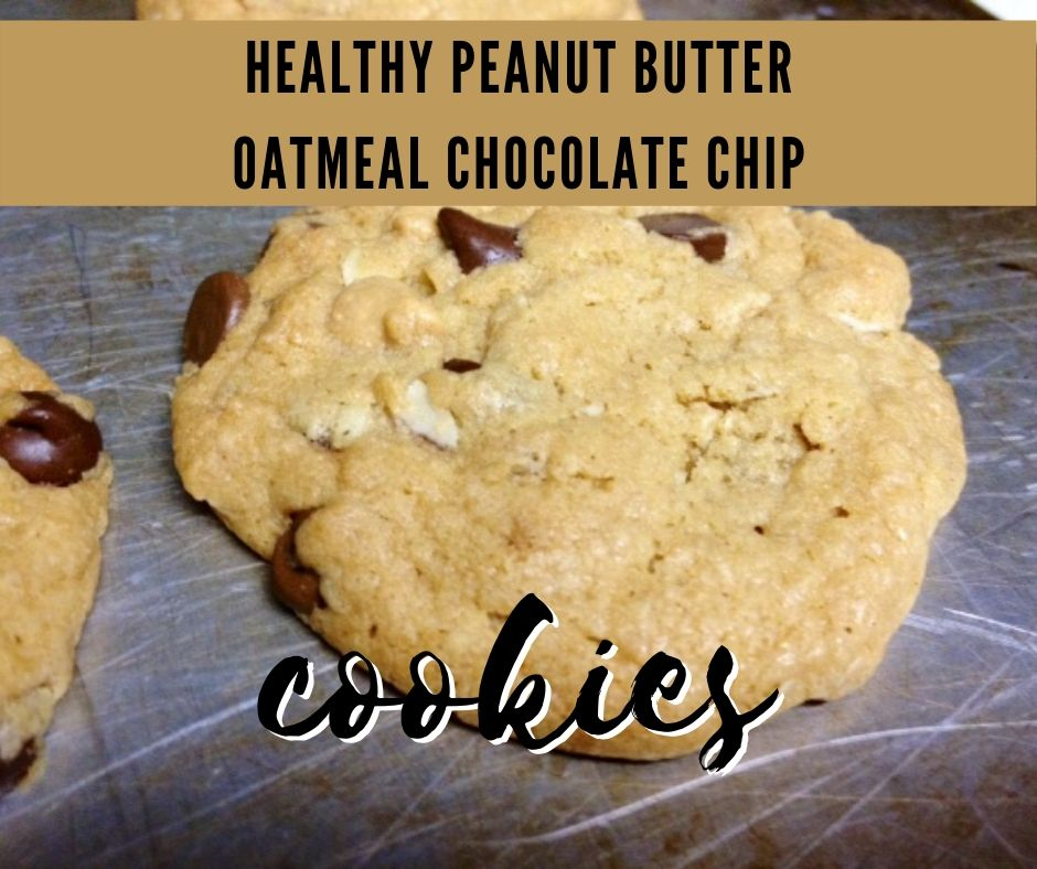Healthy Peanut Butter Oatmeal Chocolate Chip Cookies   These have been a family favorite my whole life, a super easy cookie recipe to whip up whenever.  I've made it healthier by using some whole wheat flour, backing off the oil and sugar a bit, and adding in some oatmeal. #healthydessert #cookies #cookierecipe