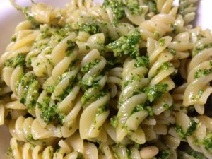 pasta con pesto finished