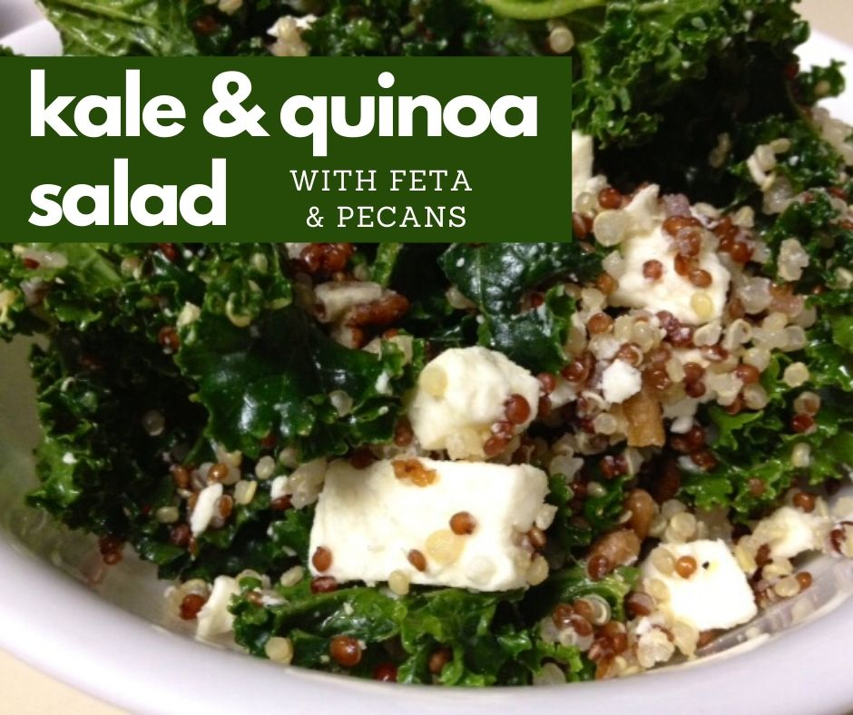 Kale & Quinoa Salad with Feta & Pecans | This easy vegetarian dinner or side dish is simple but packed with flavor.  Lots of protein and fiber, great for Meatless Monday or a make-ahead healthy lunch.  Healthy dinner recipe ideas. #healthy #kale #quinoa #feta #dinnerrecipe #meatlessmonday #vegetarian