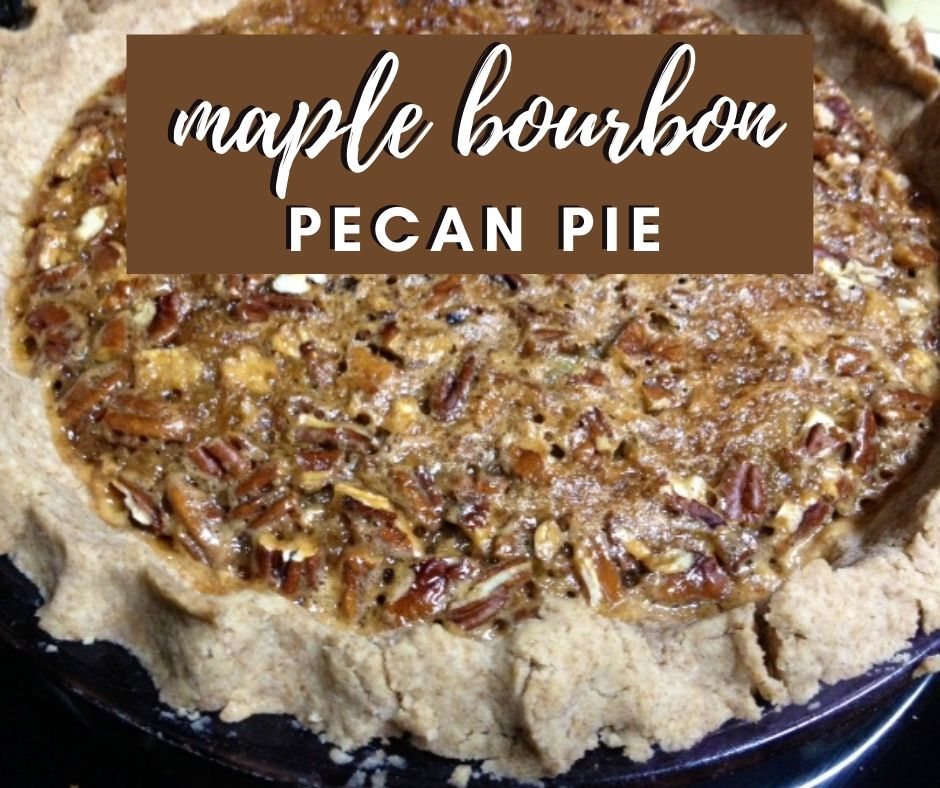 Maple Bourbon Pecan Pie | This is an amazing twist on a holiday classic, a Thanksgiving dessert staple in my family. Delicious maple syrup and bourbon added to a traditional pecan pie. #dessert #thanksgiving #holidayrecipe #dessertrecipe #pecanpie #bourbon #maplesyrup