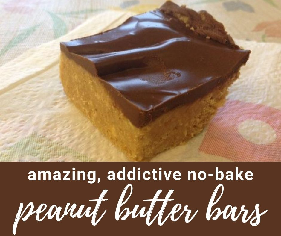 Easy, Addictive No-Bake Peanut Butter Bars | These were a family staple growing up, we called them Reese's peanut butter bars and devoured them constantly. An easy no-bake dessert, perfect for summer. Only 15 minutes to put together! #nobake #dessertrecipe #summerdessert #peanutbutter