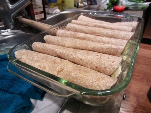 chicken avocado enchiladas tortillas assembled