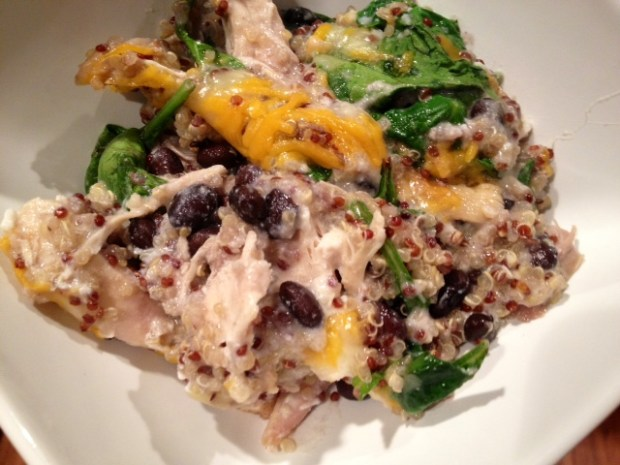 Healthy Chicken, Black Bean, & Spinach Quinoa Casserole | A super easy weeknight dinner that makes great leftovers...full of protein and fiber | finding time for cooking