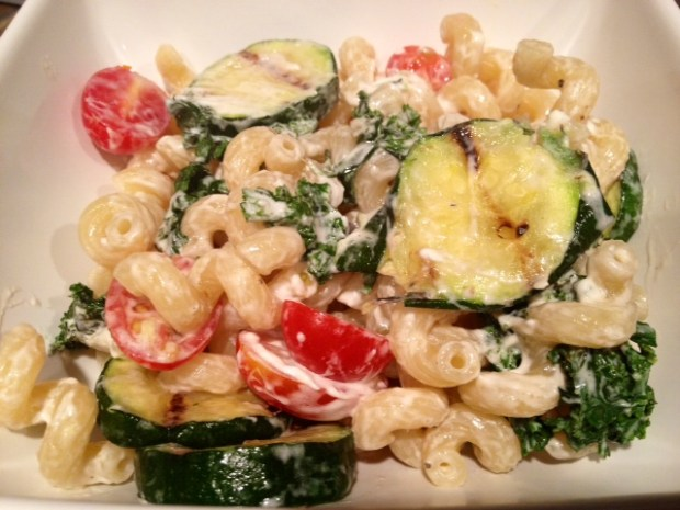 Cavatappi with Goat Cheese, Tomatoes, Kale, & Grilled Zucchini | This easy vegetarian pasta is perfect for any weeknight, a delicious kale & zucchini pasta with tangy goat cheese.  Great summer flavors and on the table in under 30 minutes. #pasta #goatcheese #zucchini #30minutemeal