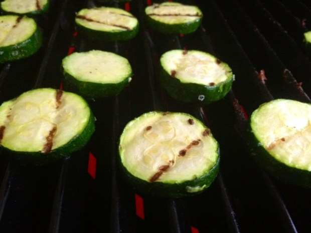 cavatappi goat cheese zucchini grilled closeup