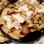 Grilled Eggplant with Goat Cheese, Balsamic, & Pine Nuts